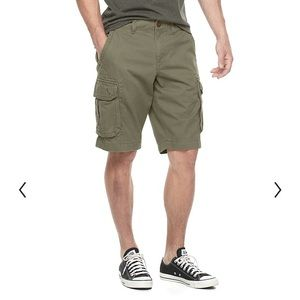 Urban Pipeline Military Green Cargo Cotton Shorts